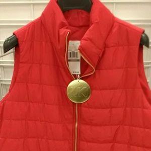 Michael Kors Cherry Red Zipup Vest NWT